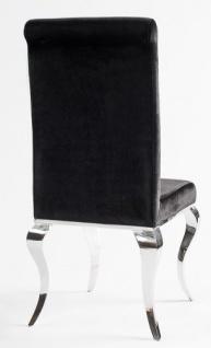 Casa Padrino Luxus Esszimmer Set Schwarz / Silber - Esstisch 200 cm + 4 Stühle - Luxus Qualität - Modern Barock - Vorschau 2