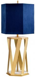 Casa Padrino Luxus Tischleuchte Messingfarben / Weiß / Blau 27, 5 x 27, 5 x H. 87 cm - Moderne Tischlampe mit Kunstseide Lampenschirm - Luxus Kollektion