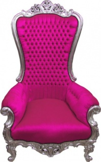 Casa Padrino Barock Thron Sessel Majestic Pink/Silber - Riesensessel - Thron Stuhl