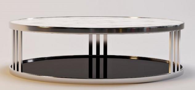 Casa Padrino Luxus Couchtisch Silber / Weiß / Schwarz Ø 115 x H. 33 cm - Runder Wohnzimmertisch mit Marmorplatte und getönter Glasplatte - Luxus Möbel - Vorschau 1