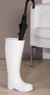 Designer Schirmständer Stiefel, Höhe 45 cm, edle Skulptur aus Keramik weiss - Edel & Prunkvoll