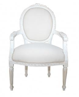 Casa Padrino Barock Salon Stuhl Antik Stil Creme - Weiss - Möbel Antik Stil