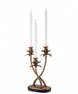 Casa Padrino Luxus Messing Kerzenhalter Palmen 3-armig - Luxus Hoteleinrichtung Karzenleuchter Palme