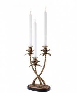 Casa Padrino Luxus Messing Kerzenhalter Palmen 3-armig - Luxus Hoteleinrichtung Kerzenleuchter Palme