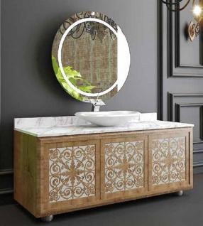 Casa Padrino Luxus Badezimmer Set Naturfarben / Weiß - 1 Waschtisch mit 3 Türen und 1 Waschbecken und 1 Wandspiegel - Badezimmermöbel - Luxus Qualität
