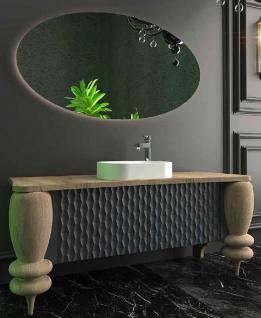 Casa Padrino Luxus Badezimmer Set Naturfarben / Grau / Weiß - 1 Waschtisch mit 2 Türen und 1 Waschbecken und 1 LED Wandspiegel - Luxus Badezimmermöbel