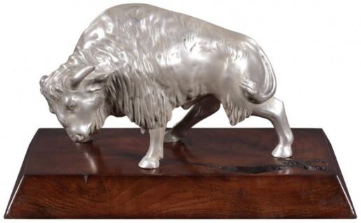 Casa Padrino Luxus Bison Bronzefigur Silber / Braun 35 x 18 x H. 20 cm - Versilberte Deko Figur mit Mahagoni Holzsockel - Vorschau 1