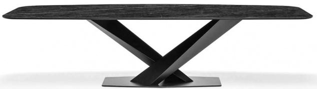 Casa Padrino Luxus Esstisch Anthrazit / Schwarz 200 x 100 x H. 76 cm - Rechteckiger Küchentisch mit Marmorplatte und Edelstahl Gestell - Luxus Esszimmer Möbel