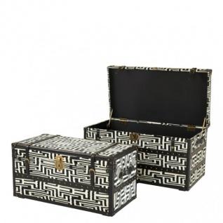 Casa Padrino Vintage Koffer Truhen Set (2 Truhen) Schwarz / Weiß / Messing Applikationen - Vintage Look Hotel Möbel