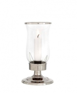 Casa Padrino Designer Aluminium Kerzenleuchter Durchmesser 10 x H. 20 cm - Nickel Finish