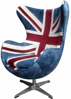 Casa Padrino Lounge Chair Union Jack / Silber in Ei-Form 87 x 77 x H. 116 cm - Luxus Drehsessel