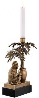 Casa Padrino Luxus Kerzenhalter Affe und Palme Vintage Messing / Schwarz 20 x 15 x H. 30 cm - Deko Accessoires - Vorschau 3