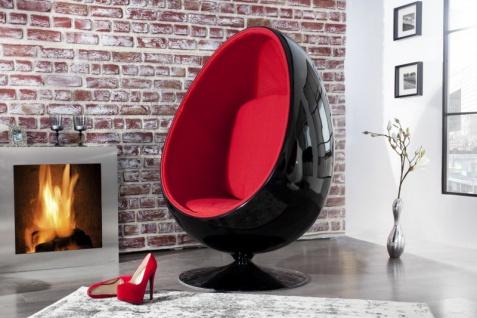 Casa Padrino Designer Egg Chair Sessel Schwarz / Rot - Lounge Club Sessel