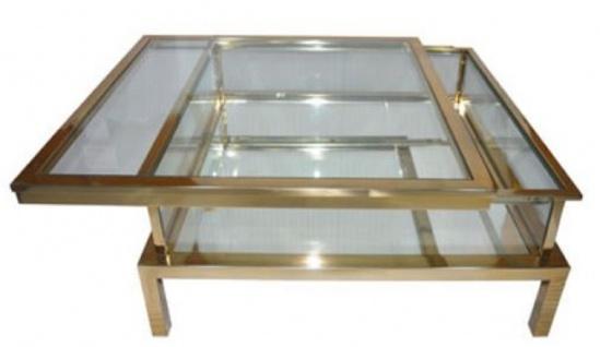 Casa Padrino Luxus Edelstahl Couchtisch Gold 100 x 100 x H. 40 cm - Quadratischer Wohnzimmertisch mit Glasplatten - Wohnzimmer Möbel