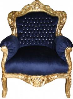 Casa Padrino Barock Sessel King royalblau / gold mit Bling Bling Glitzersteinen - Antikstil Sessel