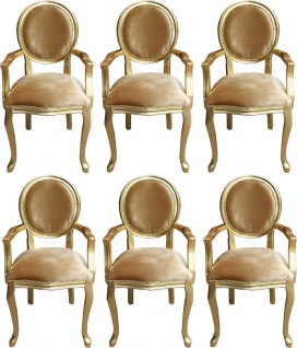 Casa Padrino Luxus Barock Esszimmer Set Medaillon Gold / Gold 58 x 54 x H. 103 cm - 6 handgefertigte Esszimmerstühle mit Armlehnen - Barockmöbel