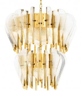Casa Padrino Luxus Kronleuchter mit handgemachtem Glas Gold Ø 75 x H. 85 cm - Luxus Qualität