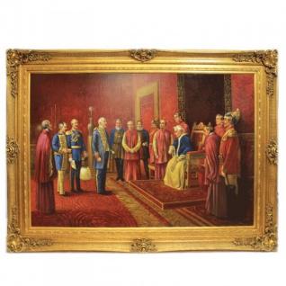 Riesiges Handgemaltes Barock Öl Gemälde Kaiser Wilhelm Audienz beim Papst Gold Prunk Rahmen 220 x 160 x 10 cm - Massives Material - Vorschau 1
