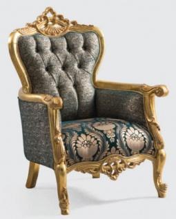 Casa Padrino Luxus Barock Sessel Grün / Gold 85 x 80 x H. 125 cm - Handgefertigter Wohnzimmer Sessel mit elegantem Muster - Barock Wohnzimmer Möbel - Edel & Prunkvoll