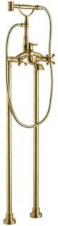 Casa Padrino Jugendstil Badewannenarmatur Vintage Gold 25, 3 x 18 x H. 118, 3 cm - Freistehende Badewannenarmatur mit Standfüßen und Handbrause - Nostalgisches Badezimmer Zubehör