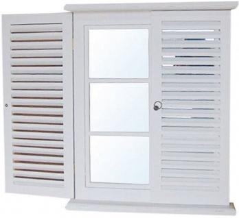 Casa Padrino Landhausstil Wandspiegel Weiß 62 x H. 80 cm - Handgefertigter Spiegel mit 2 Türen