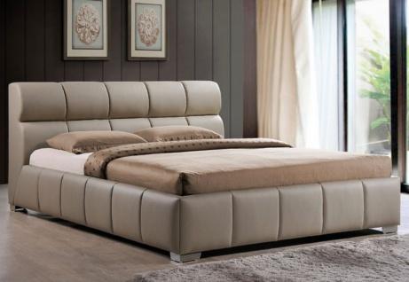 Casa Padrino Luxus Doppelbett Cappucciono 176 x 237 x H. 93 cm - Massivholz Bett mit Kunstleder - Schlafzimmer Möbel