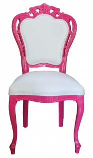 Casa Padrino Luxus Barock Esszimmer Stuhl in Weiß/Pink - Designer Stuhl - Luxus Qualität