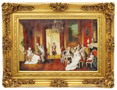 Casa Padrino Barock Öl Gemälde Salon Gold Prunk Rahmen 130 x H. 100 cm - Prunkvolles Gemälde im Barockstil