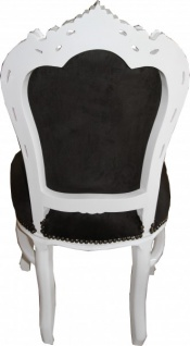 Casa Padrino Barock Esszimmer Stuhl Schwarz / Weiß - Möbel Antik Stil - Vorschau 3