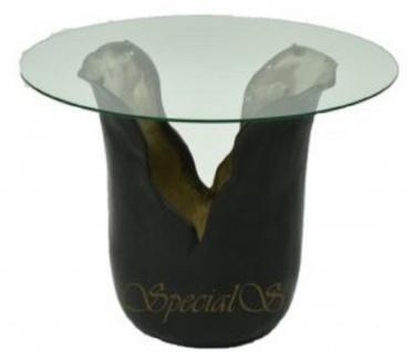 Casa Padrino Designer Beistelltisch mit Glasplatte Schwarz / Gold Ø 46 x H. 36 cm - Luxus Kollektion
