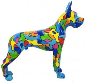 Casa Padrino Designer Dekofigur Hund Deutsche Dogge Mehrfarbig 125 x H. 110 cm - Lebensgroße Deko Skulptur - Wetterbeständige Tierfigur