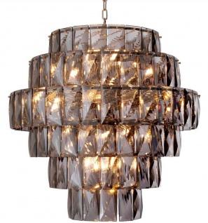 Casa Padrino Luxus Kronleuchter Grau / Silber Ø 80 x H. 80 cm - Moderner runder Kristallglas Kronleuchter - Luxus Qualität