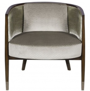 Casa Padrino Art Deco Lounge Sessel Dunkelbraun / Silber / Gold 74 x 83 x H. 71 cm - Art Deco Möbel - Luxus Qualität