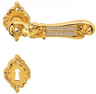 Casa Padrino Luxus Barock Türklinken Set Gold 14 x H. 6, 5 cm - Türgriff Set mit Swarovski Kristallglas