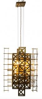 Casa Padrino Designer Hängeleuchte Messing 45 x 45 x H. 60 cm - Hotel Möbel
