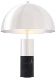 Casa Padrino Luxus Tischleuchte Silber / Schwarz Ø 50 x H. 70 cm - Tischlampe mit rundem Metall Lampenschirm