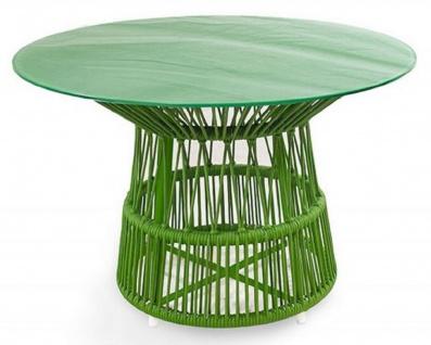Casa Padrino Luxus Gartentisch Grün Ø 110 x H. 75 cm - Handgewebter wetterbeständiger Esstisch mit Glasplatte - Garten & Terrassen Möbel