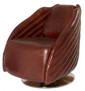 Casa Padrino Luxus Drehsessel Dunkelbraun / Silber 69 x 97 x H. 79 cm - Echtleder Sessel im Art Deco Design