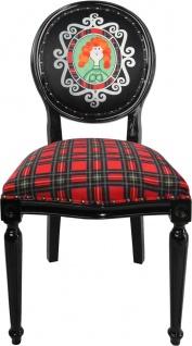 Casa Padrino Barock Luxus Esszimmer Stuhl ohne Armlehnen Schottland Karo / Schwarz Woman - Designer Stuhl - Limited Edition - Vorschau 1