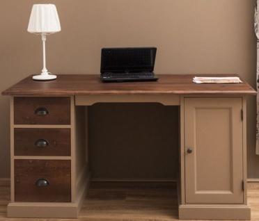 Casa Padrino Landhausstil Massivholz Schreibtisch mit Tür und 3 Schubladen Beige / Dunkelbraun 152 x 70 x H. 78 cm - Büromöbel im Landhausstil