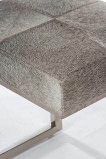 Casa Padrino Luxus Kunstfell Hocker in Patchwork Optik Grau / Silber 45 x 33 x H. 40 cm - Luxus Möbel - Vorschau 3