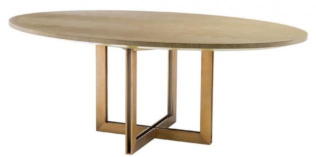 Casa Padrino Luxus Esstisch Naturfarben / Messing 200 x 120 x H. 76 cm - Ovaler Küchentisch - Luxus Esszimmer Möbel