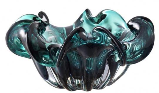 Casa Padrino Deko Schüssel aus mundgeblasenem Glas Grün Ø 21 x H. 10 cm - Luxus Deko Accessoires