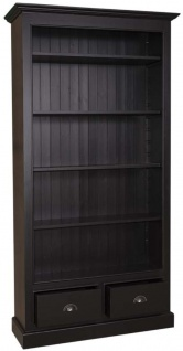 Casa Padrino Landhausstil Bücherschrank Schwarz 109 x 39 x H. 210 cm - Wohnzimmermöbel im Landhausstil - Vorschau 2