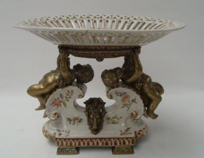 Casa Padrino Luxus Barock Porzellan Schale H. 24, 5 cm
