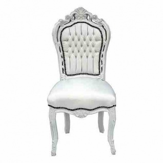 Casa Padrino Barock Esszimmer Stuhl Weiß/Weiß Lederoptik - Antik Stil Möbel