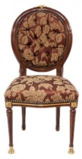 Casa Padrino Barock Luxus Esszimmer Medaillon Stuhl Bordeaux Muster / Mahagoni - Antik Stil - Möbel