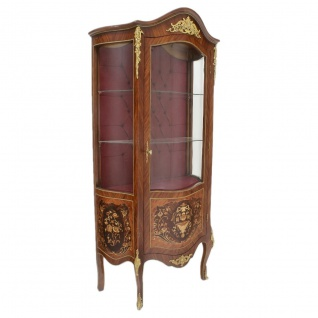 Casa Padrino Barock Glas Vitrine Vitrinenschrank 85 x H 180 cm - Barock Möbel - Vitrinenschrank - Wohnzimmerschrank Schrank Mahagoni