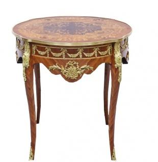 Casa Padrino Barock Beistelltisch Mahagoni Intarsien / Gold H78 x 76 cm - Ludwig XVI Antik Stil Tisch - Möbel - Vorschau 2