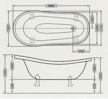 Freistehende Luxus Badewanne Jugendstil Roma Braun/Weiß/Altgold 1695mm von Casa Padrino - Barock Badezimmer - Retro Antik Badewanne - Vorschau 4